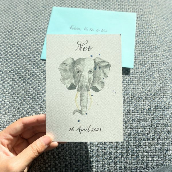 Personalized Elephant birth card