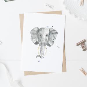 Elephant Postcard / Mini Poster