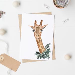Giraffe Postcard / Mini Poster